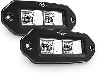 MICTUNING Flush Mount LED Pods, 2Pcs 40W Flood CREE LED Work Light Bar, Off Road Backup Driving Lights Fog Lamp for Jeep Bumper ATV UTV SUV Truck Boat
