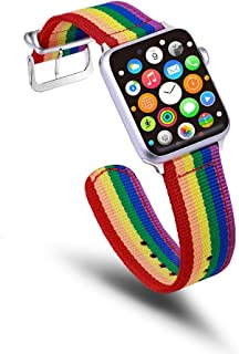حزام ساعة يد YGbridge ainbow متوافق مع حزام ساعة Apple Sport Watch Band Women Men Nylon Replacement Wristband متوافق مع Ap...