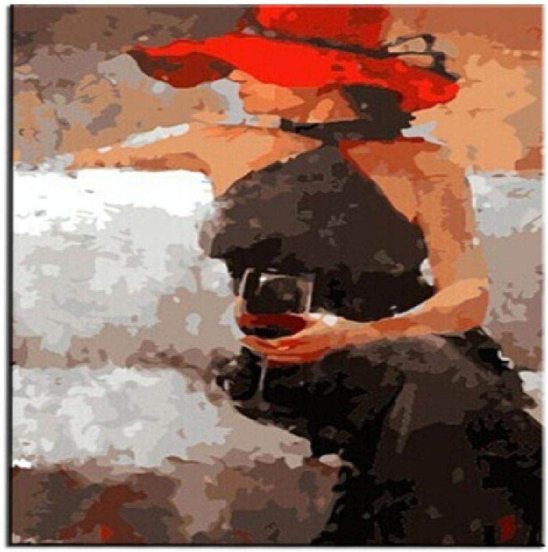 venta de ofertas XCSXCSHUA Pintura Digital Vino Femenino, 120X160cm. DIY DIY DIY Wall Artwork Picture Decor Decoraciones Regalos Pintura por números Lona Kit  A la venta con descuento del 70%.