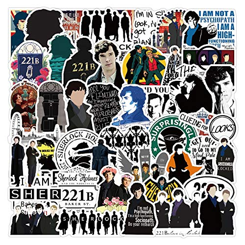 YZFCL TV Show Sherlock Graffiti Stickers Funny Skateboard Guitar Suitcase Frozen Laptop Classic Toy Cool Sticker Children's Toys 50PCS