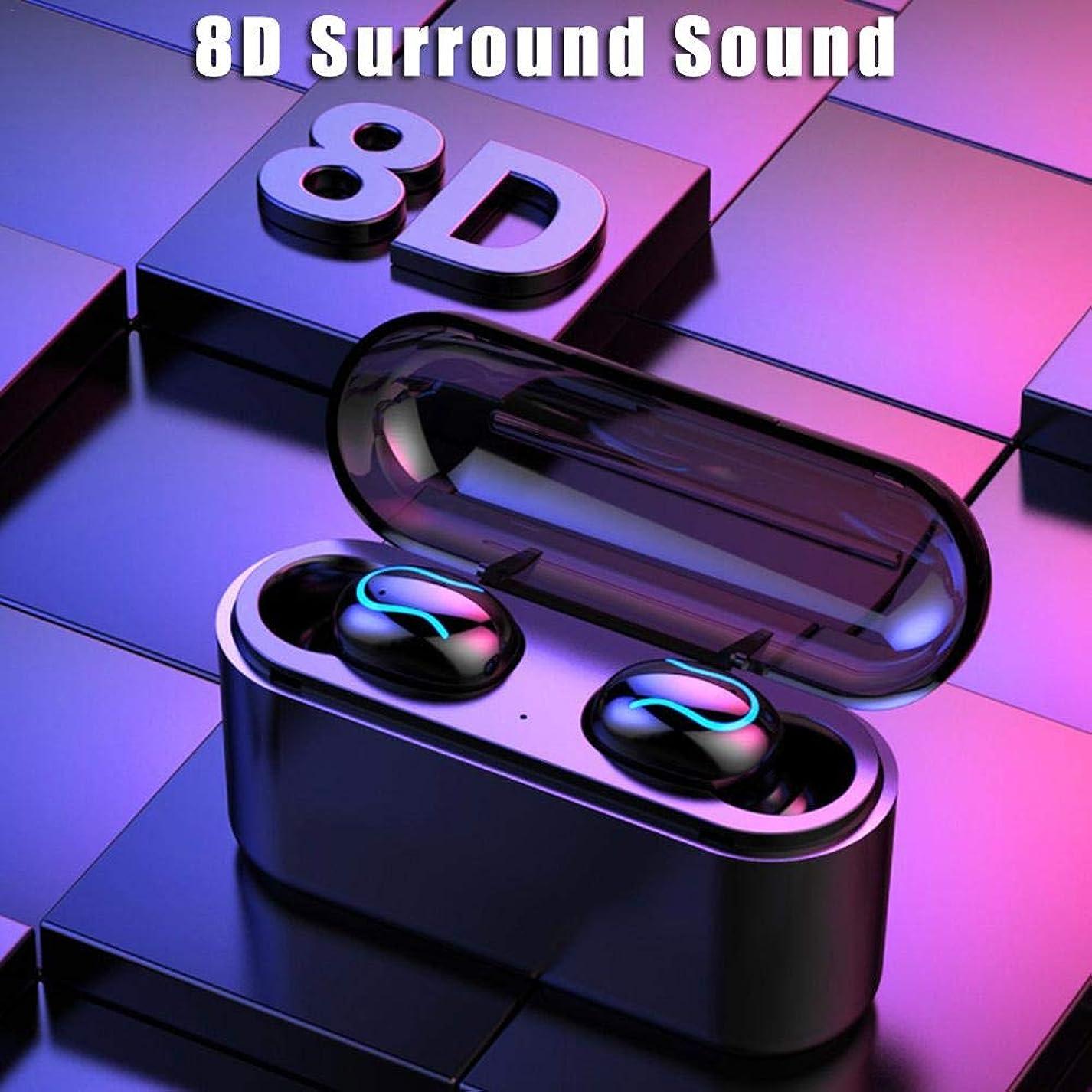 バーガー特権的既婚TWS Q32SマイクロBluetoothワイヤレスイヤホン 5.0バイノーラル - スポーツインイヤーミニヘッドセット IPX7防水 自動ペアリング ノイズキャンセリング搭載 マイク内蔵 ハンズフリー通話 両耳左右分離型