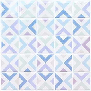 "Joqixon Peel and Stick Backsplash Tiles for Kitchen Bathroom, Vinyl Subway Wall Tile 3D Mosaic Decorative Wall Sticker, 10""x10"" 4 Sheets"