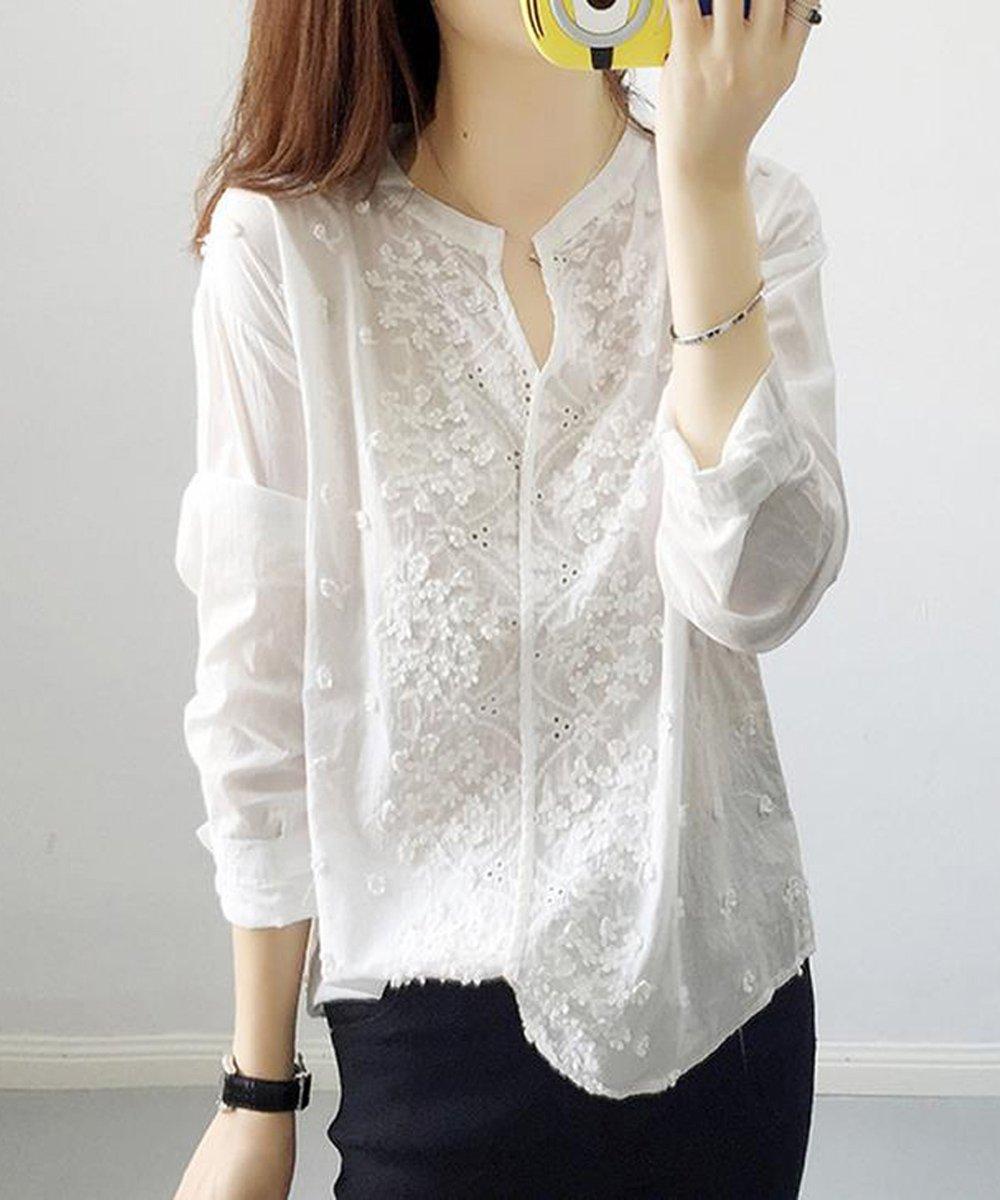 Lizhiqi /莉之绮文学フレッシュ2019女性の爆発Vネック長袖刺繍スノーフレークホワイトシャツ緩い通気性の快適さ新鮮なゆったり303-1028ワンサイズ