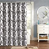 Mosaik-Duschvorhang 180x180cm Anti-Schimmel & antibakterieller Badevorhang, für Dusche & Badewanne inkl. 12 Duschvorhangringen