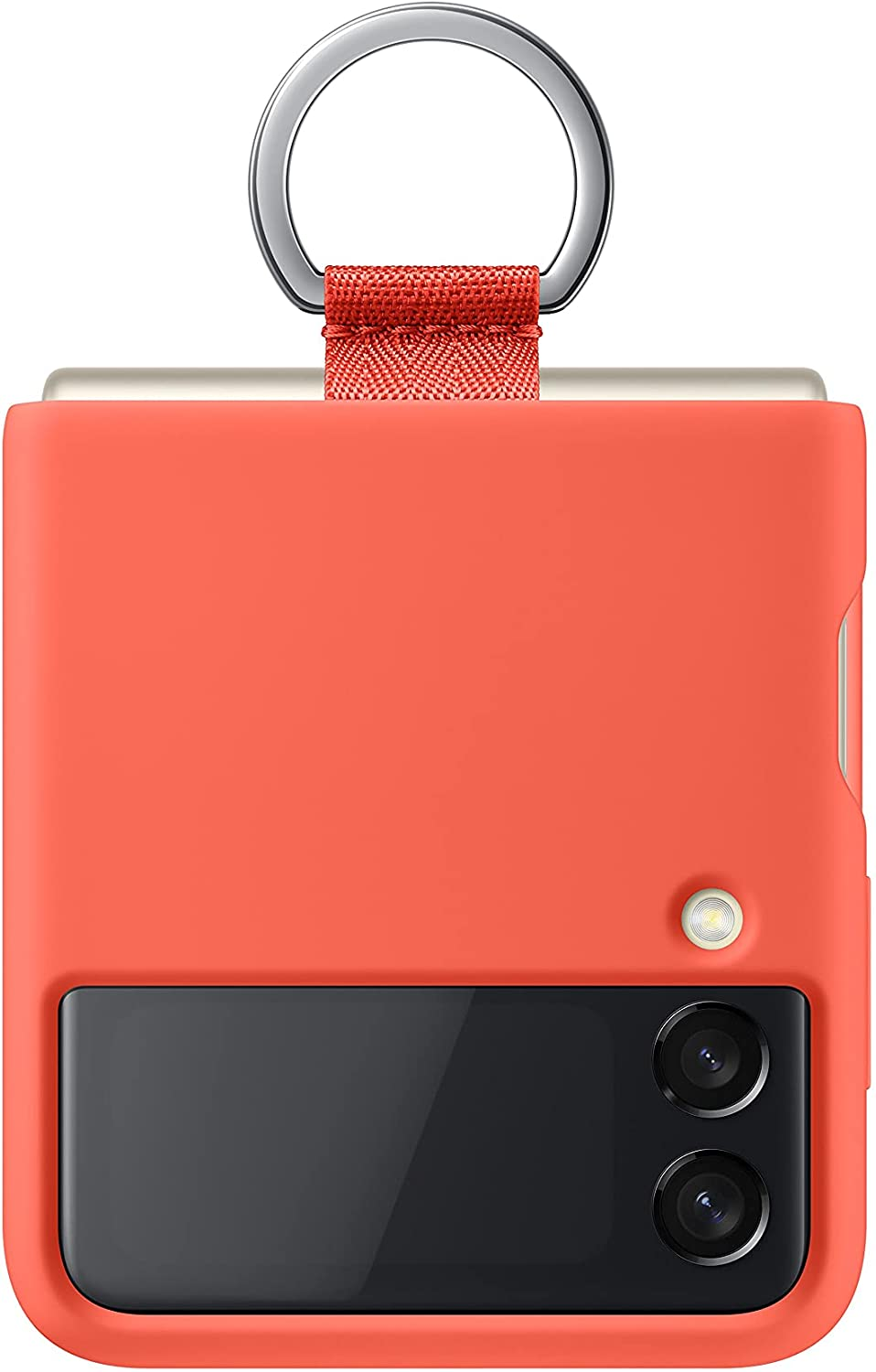 Samsung Galaxy Z Flip 3 Phone Case, Silicone Protective Cover with Ring, Heavy Duty, Shockproof Smartphone Protector, US Version, Coral