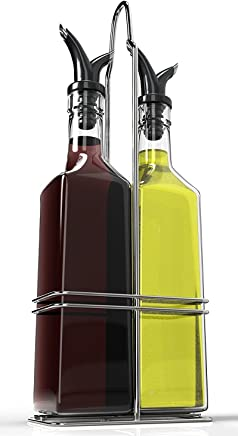Royal Oil and Vinegar Bottle Set with Stainless Steel Rack and Removable Cork - Dual Olive Oil Spout - Olive Oil Dispenser, 17oz Olive Oil Bottle and Vinegar Bottle Glass Set