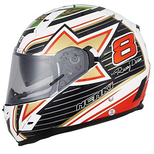 NENKI Casco integrale Moto Motocicletta NK856 Flag Racing, omologato ECE, con doppia visiera,M(57-58CM)