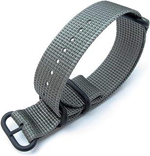 Cinturino MiLTAT 20mm, 22mm o 26mm 3 anelli Cinturino orologio militare Zulu Cinturino in nylon intrecciato 3D - Grigio, P...