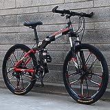 Bicicleta de montaña plegable de 26 'para hombres y mujeres, bicicleta de doble suspensión Marco de acero de alto carbono, freno de disco de acero, llanta de aleación de aluminio,Negro,27 speed