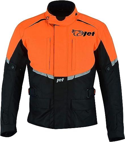 Jet Blouson Veste Moto Homme Imperméable Avec Armure Textile Tourer (Orange, 7XL (EU 64 - 66))