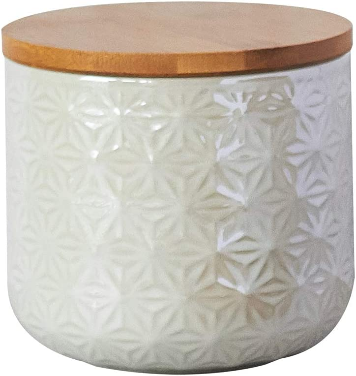 Ceramic Food Storage Max 74% OFF Jar by CIROA White Canister Bambo 4.5 5 popular Cup
