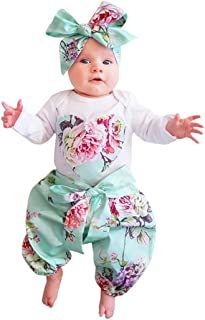 f68b9d7dcb5 QinYi 3PCs Newborn Baby Girl Floral Rompers Long Sleeve Infant Clothes with  Pants Headband Outfits Set