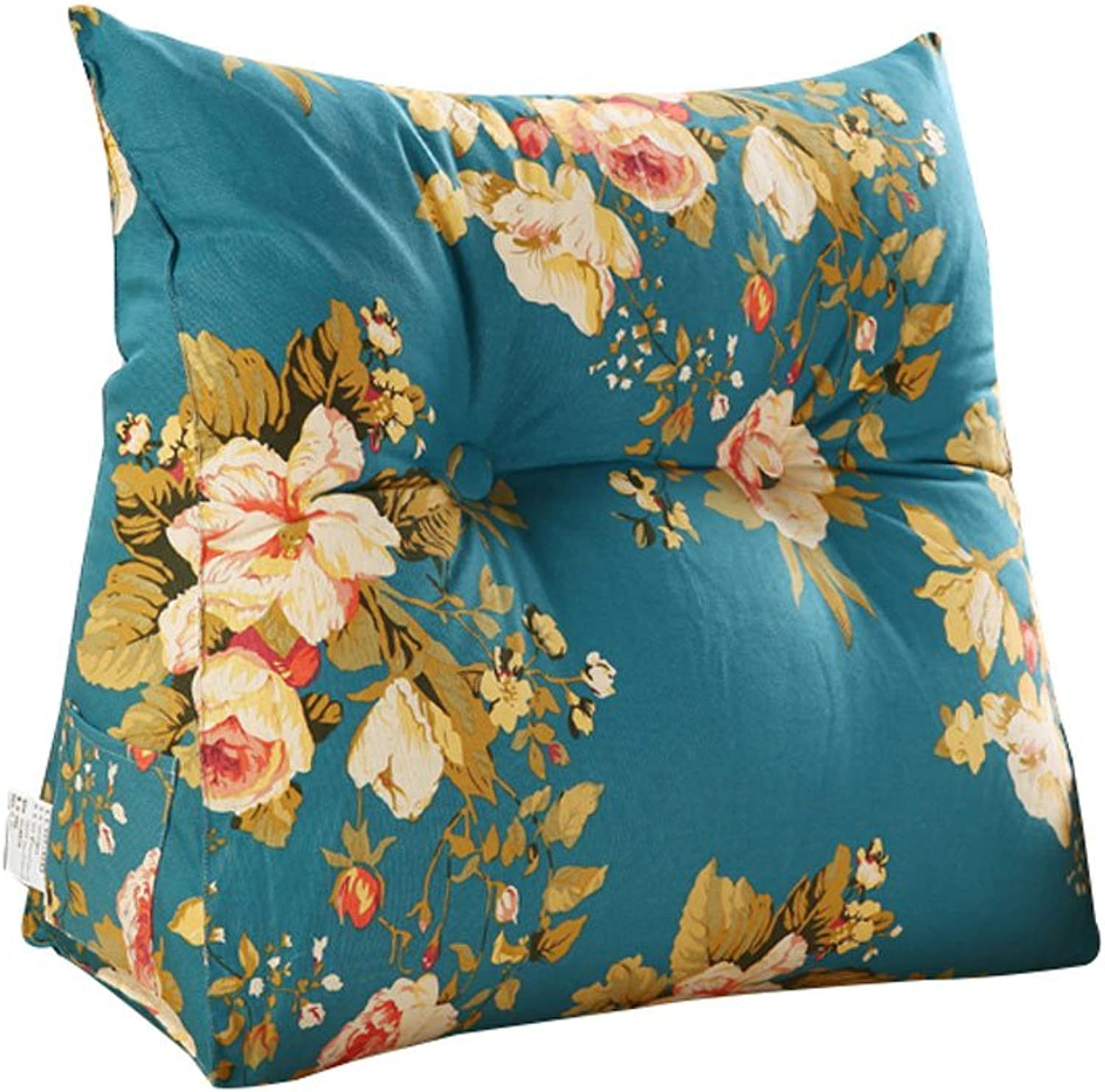 DDSS Bed cushion Printing Bedside Triangular Cushion Large Back Bed Tatami Sofa Cushions Waist Pillow Washable  -  (color   A, Size   60cm20cm50cm)