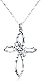 mens white gold celtic cross necklace