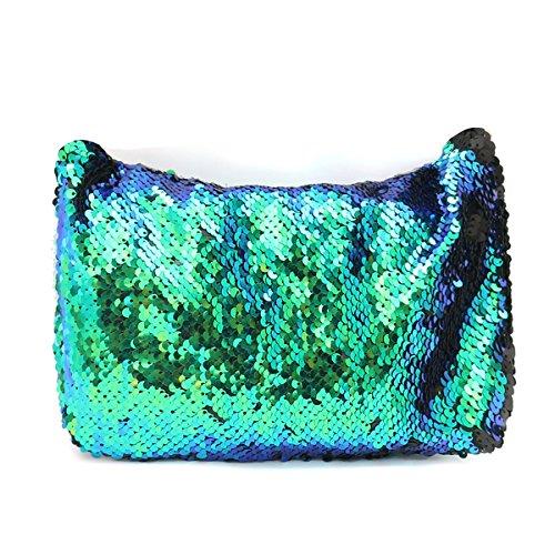Bluelover glinsterende make-up-tas met pailletten, met riem en glitter, voor portemonnee