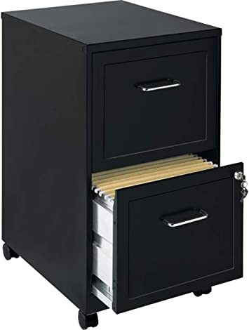 Amazon Com Filling Cabinet Mobile File Storage Organizer Vertical 2 Locking Drawers Office Portable Furniture Made From Metal Black And Silver Finishes Available Black Office Products