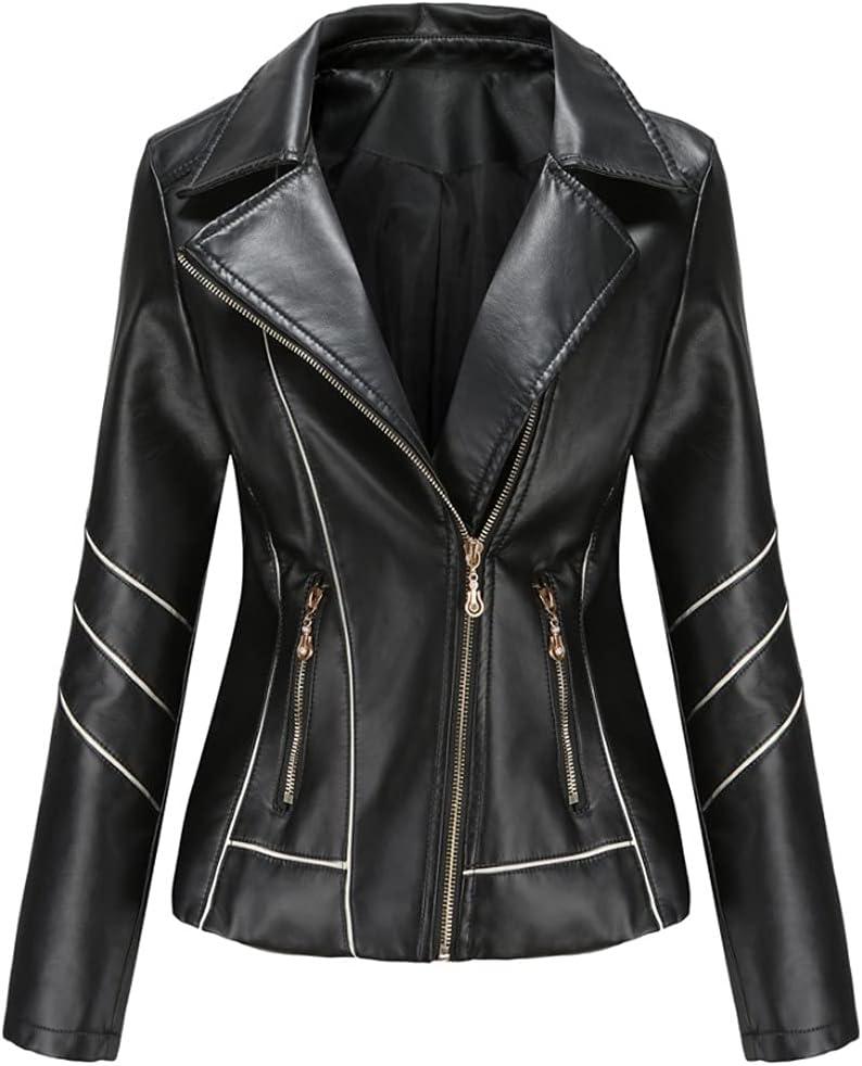 PDGJG Pure Color Design Spring and Autumn Leather Jacket, Elegant PU Jacket Lady Jacket (Color : A, Size : XXXX-Large)