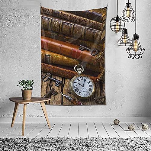 Tapiz para colgar en la pared de libros de historia y reloj, para dormitorio (60 x 40 pulgadas)