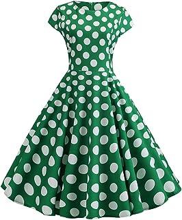 afaa489f7bb GOWOM Women Vintage 1950s Retro Short Sleeve V-Neck Printing Party Prom  Swing Dress