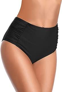 Women's Retro High Waisted Bikini Bottom Ruched Side Swim Short Tankinis