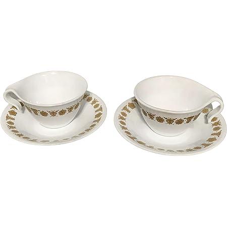 Details about  /2 Woodland Brown vintage PYREX TableWare restaurant milk glass cups saucers