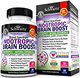 Nootropic Brain Boost Supplement with Bacopa, Lions Mane & Taurine - for Memory, Clarity, Stress & Mood Support - Promotes Alertness & Focus - Broad Spectrum Formula -30 Capsules