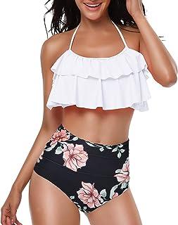 Yuson Girl Mujer Conjunto De Frill Bikini Tiras Talle Alto Tallas Grandes Sexy Traje De Baño Cuello Halter Vintage Vientre...