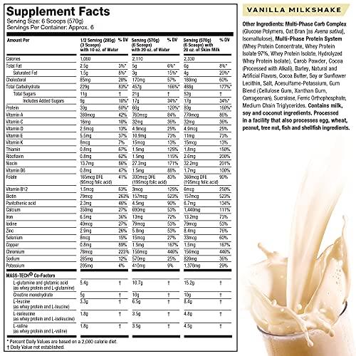 Mass Gainer Protein Powder, MuscleTech Mass-Tech Extreme 2000, Max Protein Weight Gainer, Muscle Gainer Protein Powder for Men & Women, Creatine Supplements, Vanilla Milkshake, 3.18 kg