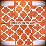 3 Yds 1.5' Texas Longhorn Burnt Orange White Quatrefoil Lattice Grosgrain Ribbon Lace Trim Embroidery Applique Fabric Delicate DIY Art Craft Supply for Scrapbooking Gift Wrapping