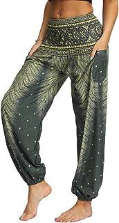Nuofengkudu Mujer Hippies Pantalones Bolsillos Estampados