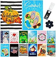 Yileqi Seasonal Garden Flags Set of 12 Double Sided Spring Easter Garden Flag Holidays Yard Flags, with Zipper Storage Bag, Festive Small Garden Flag Outdoor Decoration 12.5x18 Inch