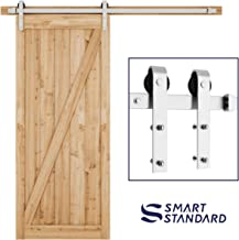 SMARTSTANDARD 6.6FT Heavy Duty Sliding Barn Door Hardware Kit, Single Rail, Stainless Steel, Super Smoothly and Quietly, Simple and Easy to Install, Fit 36
