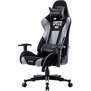 Gtracing Gaming Chair Fabric and Pu Computer Racing Office Chair High Back Backrest and Height Adjustable E-Sports Ergonomic Chair with Pillows Gray