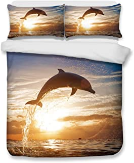 HTgroce Bedding 2 Piece Duvet Cover Set Twin/Twin XL (1 Duvet Cover + 1 Pillow Shams),Ocean Theme Comforter Quilt Cover with Zipper Closure for Adult Kids,Dolphin