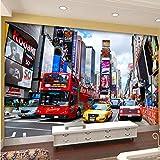 Foto mural er deco pared Moderno Popular Moda Mural Papel de pared New York Street Red Bus Mural Tienda de ropa Oficina KTV Sala de estar Telón de fondo 3D Fondo de pantalla
