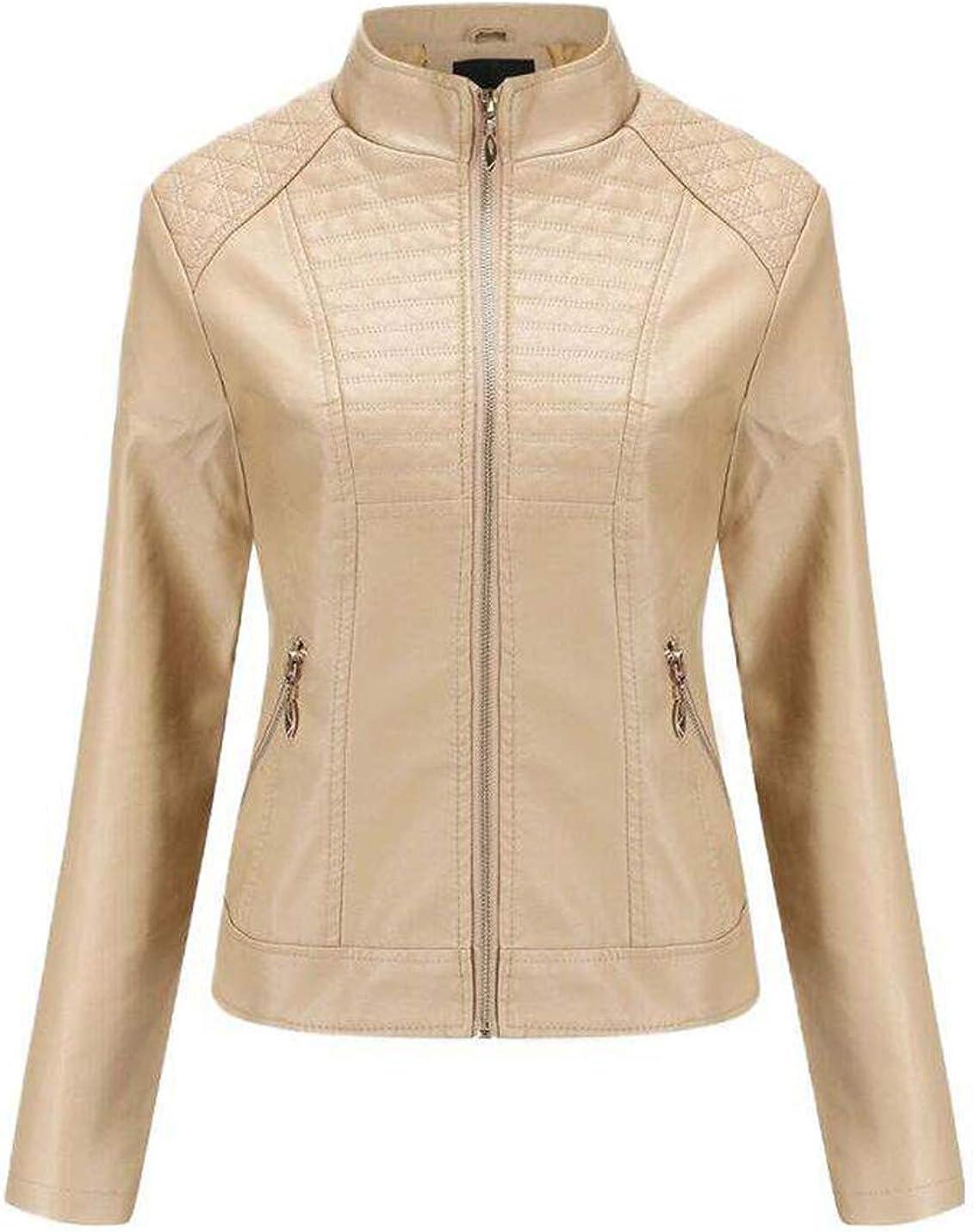 Yimoon Women's Slim Fit Faux Leather Jacket PU Moto Biker Zipper Jacket