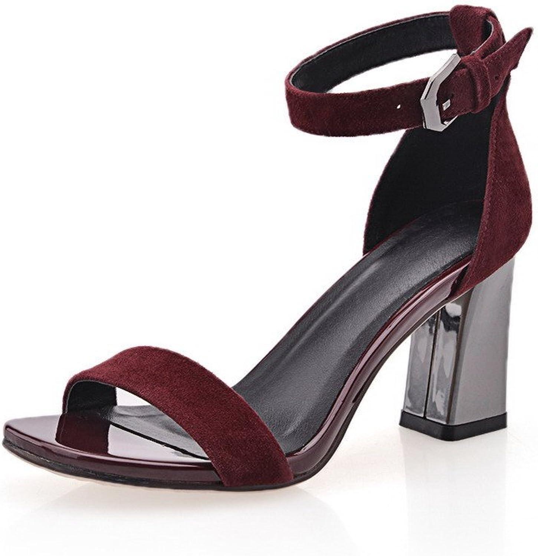AmoonyFashion Women's Nubuck Leather Solid Buckle Open Toe High Heels Sandals