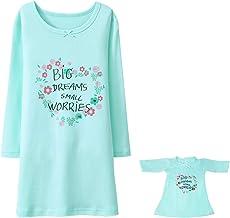 BLOMDES Chemise de Nuit pour Fille Coton Robe de Nuit à Manches Longue Imprimé Fleur 3-12ans