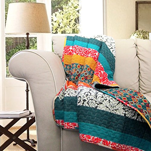 "Great Features Of Lush Decor Boho Reversible Throw Colorful Striped Pattern Bohemian Blanket, 60"" ..."