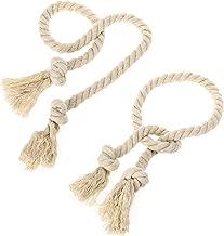 BTSKY 2 Pieces Natural Cotton Curtain Rope Tiebacks-Handmade Curtain Decorative Holdbacks Rural Style Drapery Tieback (Beige')