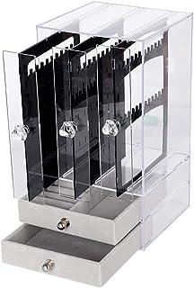 Porte Bijoux Boucles d'Oreilles Boîte de Rangement Acrylique Anti-Poussière Présentoir Support pour Ornements Anneau Colli...