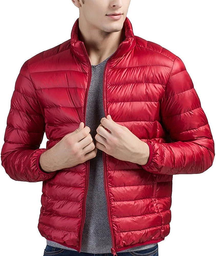 Wxian Men's Lightweight Fashion Comfortable Zipper Down Jacket Coat