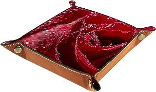 FCZ Plateau de rangement en cuir avec gouttes d'eau sur roses rouges pour table de chevet ou bureau - Boîte de rangement p...