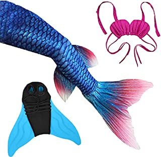Mermaid Tails with Monofin for Girls Boys Swimming Kids Adults Party Swimwear