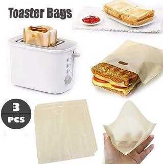Nobran 3 bolsas de tostadora reutilizables para sándwich de queso a la parrilla, antiadherentes, resistentes al calor