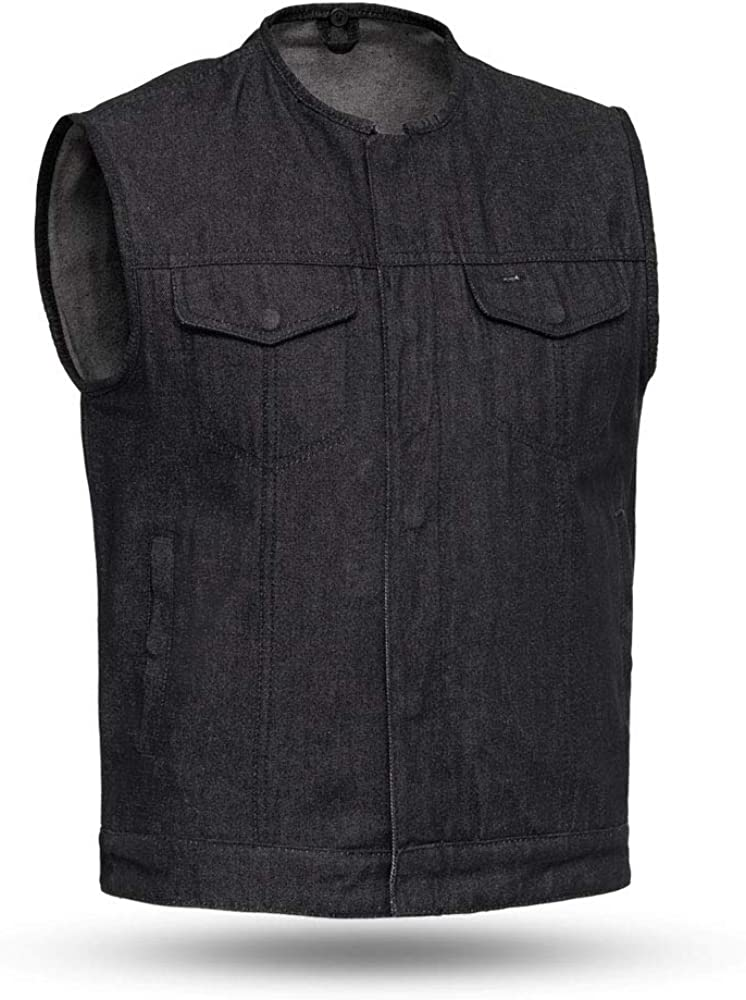 First Mfg Co Haywood 2021 Mens Roll Style Collar Me Fees free Black Club Vest