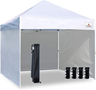 Keymaya 10'x10' Ez Pop Up Canopy Tent Commercial Instant Shelter with 4 Removable sidewalls Bonus Weight Bag 4-pc Pack (Bleached White)