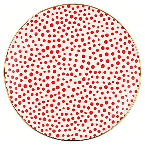 Greengate STWPLALDOT1006 Dot Assiette de Petit-déjeuner Rouge/doré 21 cm