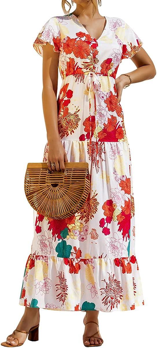 MERMAID'S CLOSET Women's Short Sleeve Floral Print Maxi Dresses Casual V Neck Long Summer Beach Dress