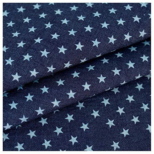 Stretch stoff Denim Bedruckter Stoff Dunkelblaue Sterne Modedesignerstoff 100% Baumwolle Gewaschener Denim Nicht Dehnbar Dünn Für Hemden Mäntel Hosen Und Kleidun(Size:1.5M*3M,Color:Dunkelblauer Stern)